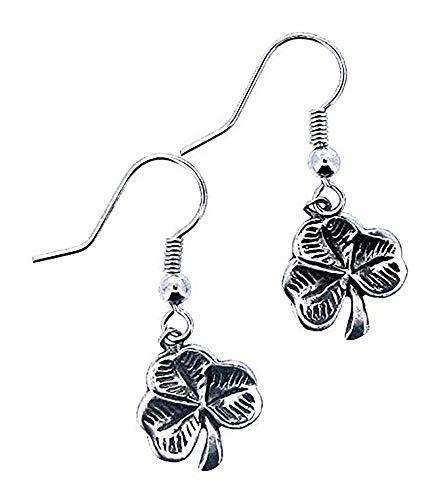 Jewelry Shamrock Earrings Celtic Fish Hook Irish Dangles Pewter Earrings Made in Ireland ()