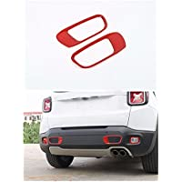 FMtoppeak Red Decoration Mouldings ABS Rear Bumper Trim Kit Exterior Cover For 2014 UP Jeep Renegade