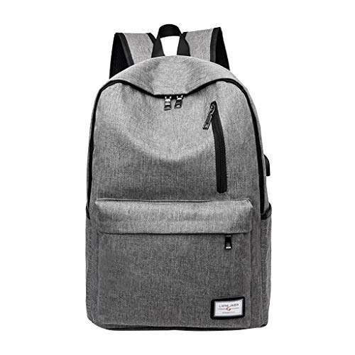 Clearance Sale!DDKK backpacks Outdoor Travel Water-Proof Anti-Theft Student School Bag Backpack,Black&Grey Women's Leisure Large Capacity Shoulders Bag with USB Charging