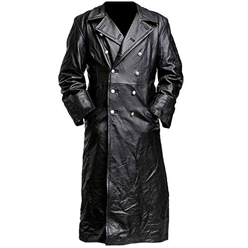 Vikings Fashion German Classic Officer k Black Leather Coat (S) ()