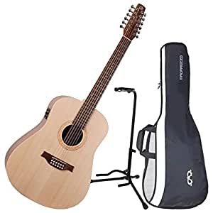 seagull excursion walnut 12 string acoustic electric guitar w gig bag and stand. Black Bedroom Furniture Sets. Home Design Ideas