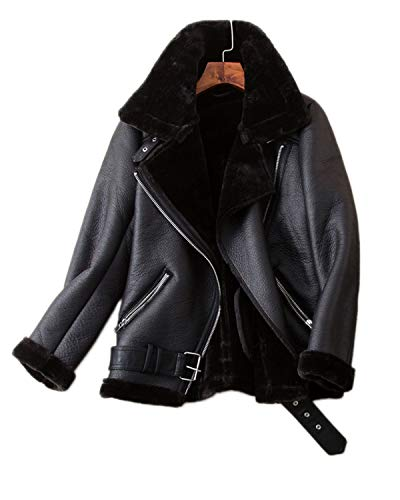 - Fitaylor Women's Faux Shearing Moto Jacket Thick Lined Parka Winter Shearling Coat Leather Jacket (L, Black)
