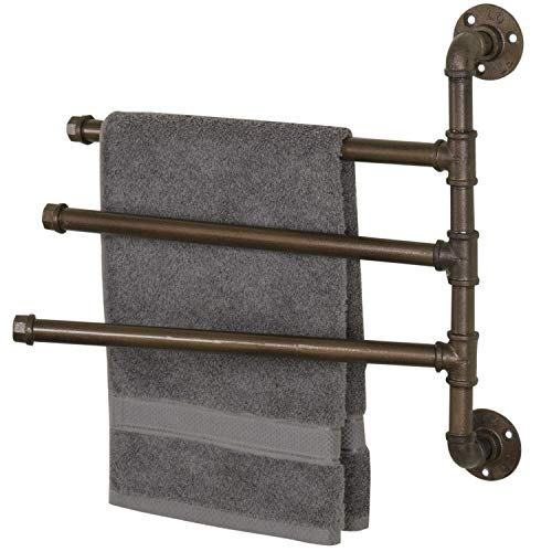 MyGift Wall-Mounted Industrial Pipe 3-Arm Swivel Towel Bar Rack, Bronze