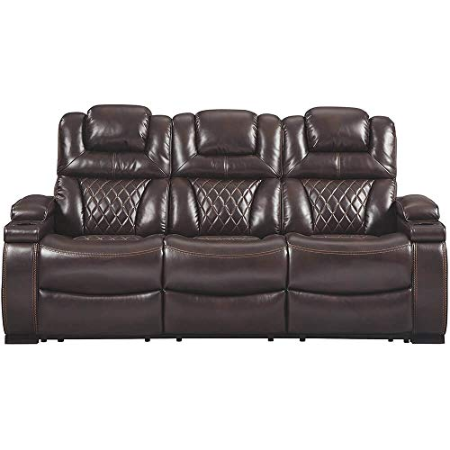 Signature Design by Ashley 7540715 Warnerton Power Reclining Sofa, Chocolate