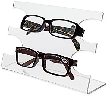 Lot of 6 Acrylic 2 Tier SUNGLASSES EYEGLASSES display STAND with Black Back