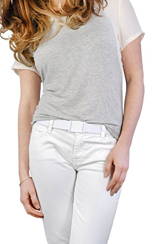 BeltawaySQUARE Adjustable Stretch Belt With No Show Square Buckle (One Size (0-14), White & Denim) by BELTAWAY (Image #2)