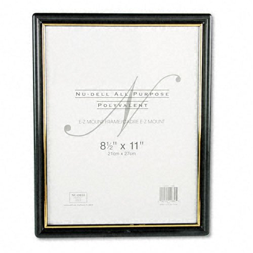 Nu-Dell : EZ Mount Document Frame, Plastic, 8-1/2 x 11, Black -:- Sold as 2 Packs of - 1 - / - Total of 2 Each