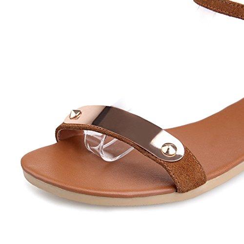 Amoonyfashion Kvinnor Spänne Öppen Tå No-häl Imiterade Mocka Fasta Flats-sandaler Brun