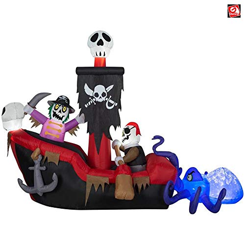 Pirate Ship Inflatable (Gemmy 9' Animated Airblown Inflatable Kaleidoscope Pirate Dingy Boat Scene)