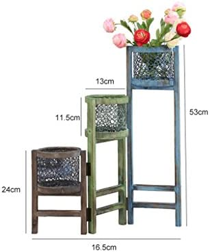 Rejilla cilíndrica de tres pliegues de estante de madera, estante de piso multifuncional plegable, jardín Reja de balcón de la sala de estar de la habitación de jardín, 16.5 * 53cm: Amazon.es: