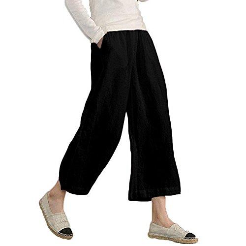 - UOFOCO Women's Wide Leg Pants Elastic Waist Causal Loose Linen Trousers Cropped Black