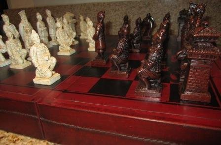 Antique Looking Chinese Chess Set Qin Dynasty Cream and Black with Stowaway (Dynasty Chess Set)