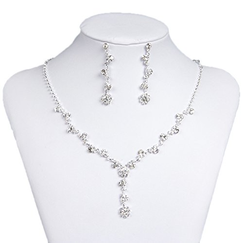 Party Necklace Set (Belle House Sliver Necklace Earrings Flower Jewelry Sets for Wedding Bridal Party BH15049)