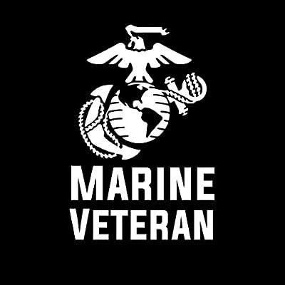 Marine Veteran Emblem Vinyl Decal Sticker   Cars Trucks Vans Walls Laptops Cups   White   5.5 X 3 Inch   KCD1712