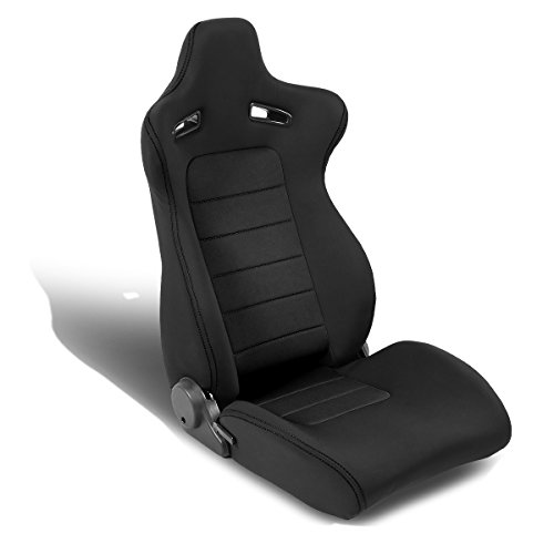 Universal Black Stitch Black Trim Woven Fabric Reclinable Racing Seat + Adjustable Slider (Passenger/Right Side)