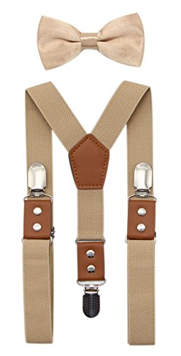 JAIFEI Suspender & Bowtie Set For Men, Teens & Boys | Long Elastic Band, Durable Plastic Teeth & High End PU Leather (Men(48 Inches), -