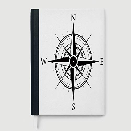 (Casebound Hardcover Notebook,Compass,College Ruled Notebook/Composition/Journals/Dairy/Office Note Books,Primitive Navigation Technology on the Sea Discovery of the World Travel Voyage Decorative,96)