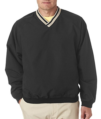 UltraClub mens Long-Sleeve Microfiber Crossover V-Neck Windshirt(8926)-BLACK/ TAN-L