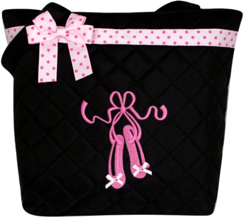 (Lil Princess Girl's Quilted Dance Ballet Slippers Tote Bag with Pink Polka Dot Bow, Black)
