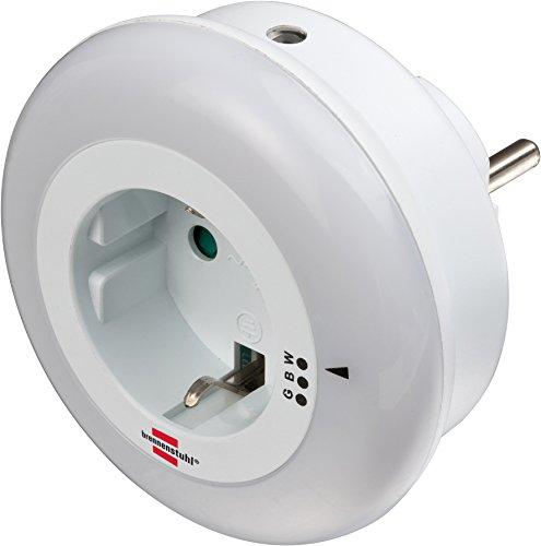 Brennenstuhl – Luz nocturna LED / luz de orientación suave con sensor crepuscular para enchufe (incluye enchufe con protección de contacto alta), color blanco