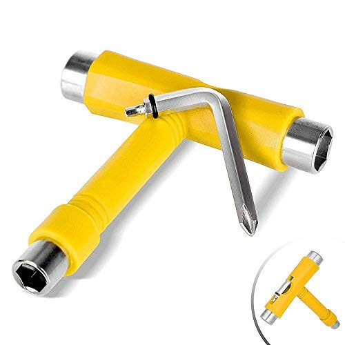 (JBM Skate Tool All in One (4 Colors) Multi Function Skateboard T Tool Accessory with T Type Allen Key and L Type Phillips Head Wrench Screwdriver (Yellow))