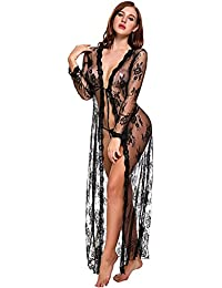 Lingerie for Women Sexy Long Lace Dress Sheer Gown See...