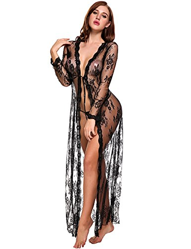 Women Robe Bathrobe Long Sleepwear Lace Night Gown Floral Pajamas Nightgown Dress with Sleeve,4_black Beach Bikini Cover Up,Medium -