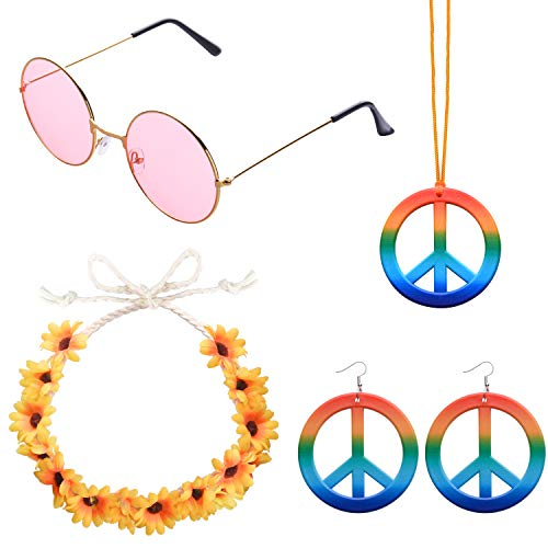 ABOAT 4 Pieces Hippie Costume Set Includes 1 Sets Rainbow Peace Sign Necklace and Earrings, 1 Piece Flower Crown Headband and 1 Pair of Hippie ()