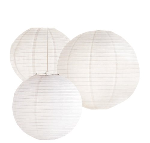 Tag Oversized Round Paper Lanterns, Set of 3, White, Assorted Sizes Oversize Tag