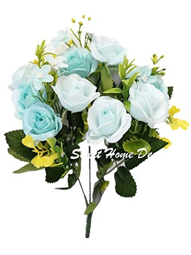 Sweet Home Deco 12'' Silk Rose Artificial Flower Bush Small Flower Bush Set of 2 Wedding/Home Decorations (Teal) (Sweet Home Rose Deco)