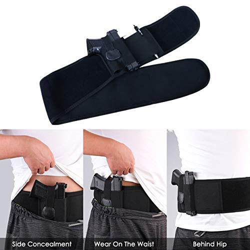 Pistol Adjustable - YIVIDA Gun Holster Concealed Carry Adjustable Gun Holster Belt Waist for Small,Medium,and Large Pistols -Elastic Inside Belly Band Holster for Women & Men - Fits Smith&Wesson Bodyguard&Ruger LCP