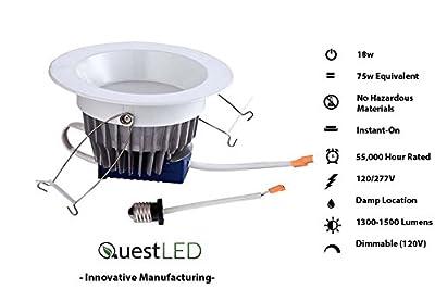 "Quest LED 6inch 6"" 18W Downlight Retrofit Recessed (150w Equivalent) 1500Lumens 120V(Dimmable) - 277V Flood; HIGH CRI; E26/ Orange Connect; Damp Location; COB; 5 Year Warranty UL/ Energy Star"