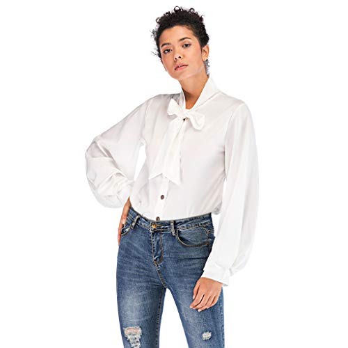 Big Sale YetouWomen Bow Tie Neck Chiffon Long Sleeve Blouse Tops Casual Office Work Shirts White