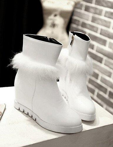 Bout Polyester Uk5 us7 Arrondi Noir Talon 5 Femme Blanc Cn38 5 Plat Xzz Bottes Décontracté White Eu38 Chaussures 4Svnx0