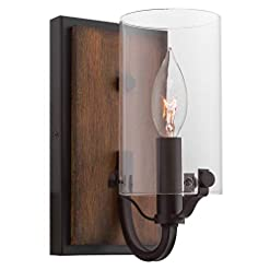 Farmhouse Wall Sconces Kira Home Aspen 9″ Rustic Farmhouse Wall Sconce + Cylinder Glass Shade, Walnut Style Wood + Oil Rubbed Bronze Finish farmhouse wall sconces