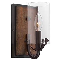 Farmhouse Wall Sconces Kira Home Aspen 9″ Rustic Farmhouse Wall Sconce + Cylinder Glass Shade, Walnut Style Wood + Oil Rubbed Bronze Finish farmhouse wall sconces