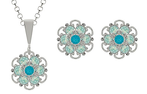 Lucia Costin Silver, Mint Blue, Blue Crystal Jewelry Set, Enchanting