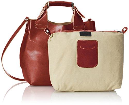 CTM Bolsa de mano de la mujer y de hombro, 44x30x13cm, 100% cuero auténtico Made in Italy Marrón (Marrone)