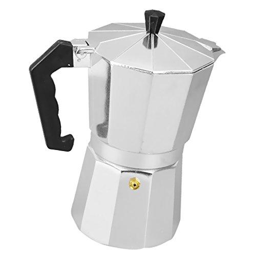 MonkeyJack Aluminum Coffee Moka Maker Pot Top Expresso Latte Stove Percolator 3/6/9/12 Cups - Silver, 3 Cups Coffee Pot Aluminum 9 Cup