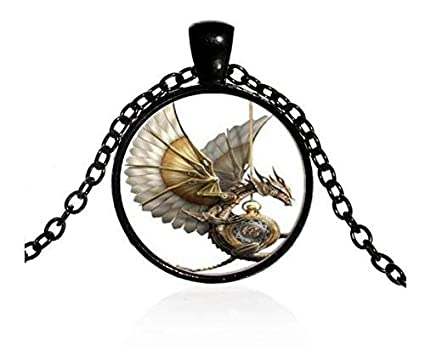 SZRUY-019 Vintage Steampunk Dragon Photo Cabochon Glass Pendant Necklace-Black