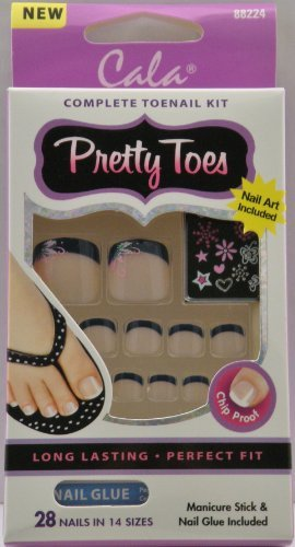 Cala Pretty Toes - Black French w/ Design 88224 by Cala by Cala