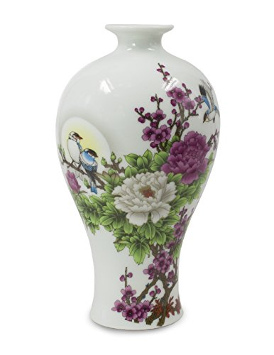 Famille Rose Porcelain Vase - Dahlia Birds in Peony Bush Oriental Famille Rose Porcelain Flower Vase, 9 Inch Plum Shaped