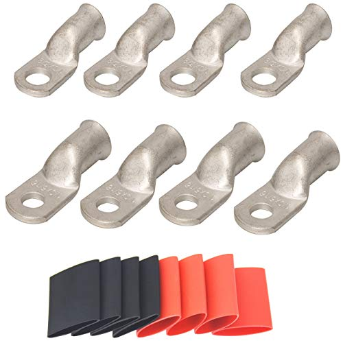 4 Pack 1/0 AWG 3/8 lugs & 1/0 AWG 5/16 Lugs Tinned Copper Terminal Marine Battery Welding Lugs Terminal Connectors with 8 Pieces Ratio 3:1 Dual Wall Adhesive Heat Shrink