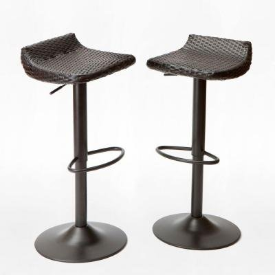 Upholstered Wicker Bar Stool - Woven Wicker Patio Bar Stool (2-Pack)