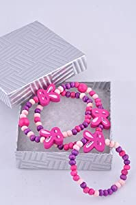 Smitco LLC Jewelry Set for Little Girls - Pinks and Purple Stretch Bunny Necklace and Bracelet