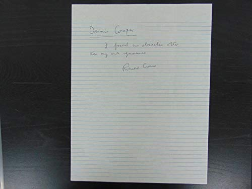 """""""Nobel Prize In Economics"""" Ronald Coase Hand Written Letter Todd Mueller COA from Unknown"""