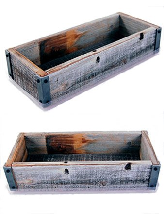 Amazon Com Reclaimed Barnwood Planter Box Weathered Rustic