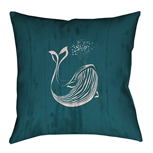 ArtVerse Katelyn Smith Faux Linen Double Sided Print with Concealed Zipper Rustic Blue Whale in Turquoise Pillow 16