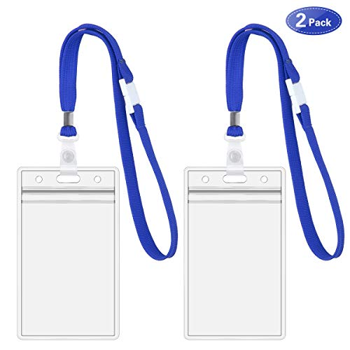 - 11Inch Lanyard with ID Card Badge Holder - Flat Polyester ID Lanyard Short Size Suitable for Kids, Women Girls ... (Blue Lanyard-2Pack)