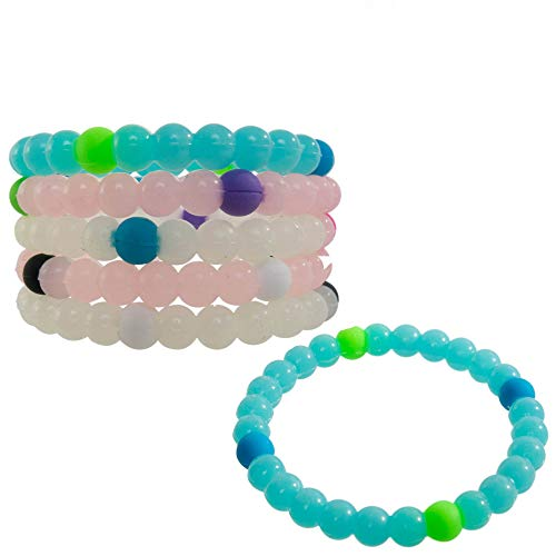 Bracelets for Kids Girls Boys Teens 6 PCs Pack - Clear Silicone Beaded Friendship Fortune Bracelet Set - Party Favors and Camp Gifts for Teenage Boy or Girl - Great for Giveaways by Frogsac